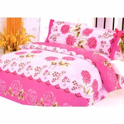 Beautiful Rose Print Pink Bedsheet