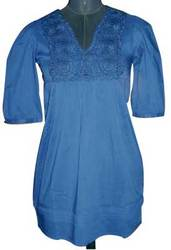 Blue Embroidered Ladies Tunic