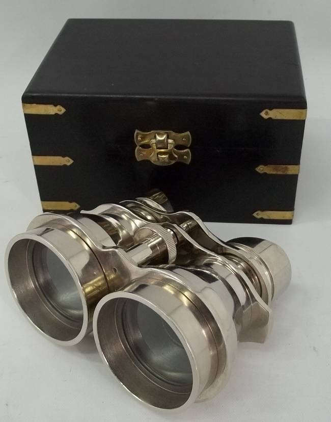 Vintage Binocular With Wooden Box