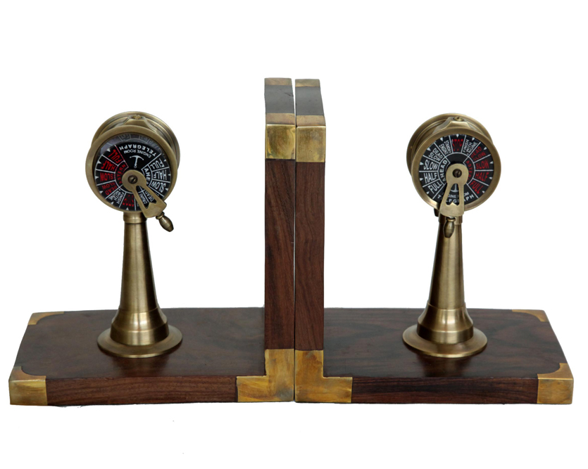 Brass Telegraph Bookend With Wooden Base