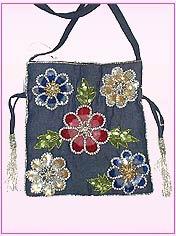 Denim Based Flower Embroidered Bag
