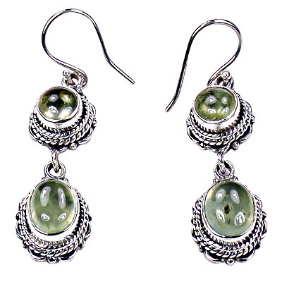 Gracious Fashion Prenite Silver Gemstone Earrings