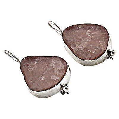 Excellent New Rose Quartz Silver Earrings