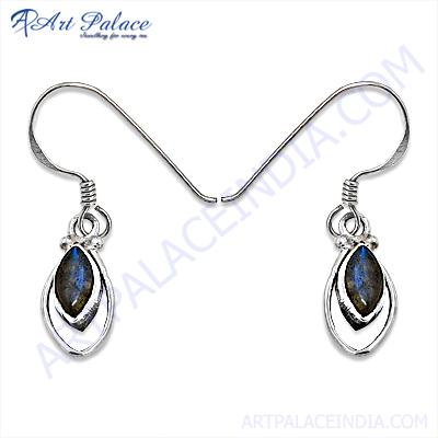 Designer Leaf  Labradorite Gemstone Silver Earrings