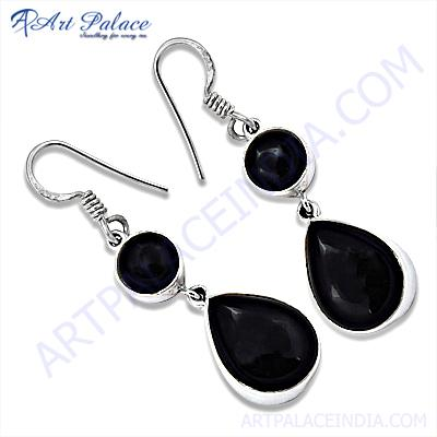 Glamour Hook Style Black Onyx Gemstone Silver Earrings