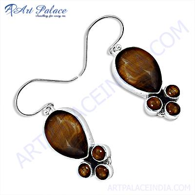 Designer Leaf Hook Tiger Eye Silver Gemstone Earrings