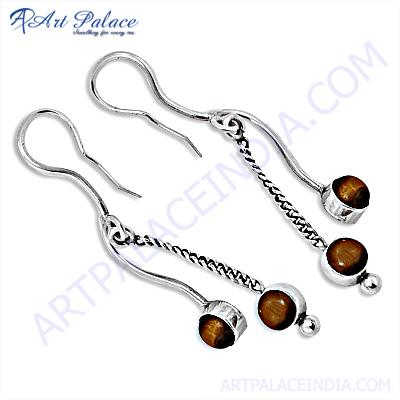 Charming & Attractive Tiger Eye Gemstone Silver Earrings