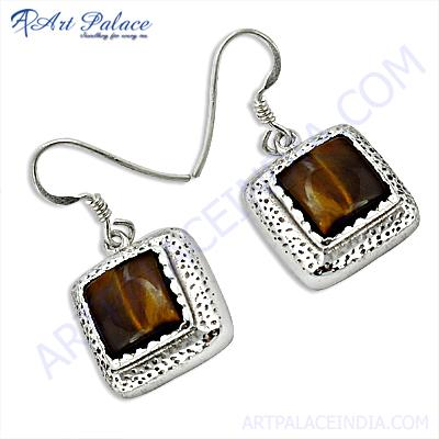 Excellent  Square Shape Tiger Eye Gemstone Silver Earrings