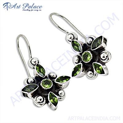 Antique Flower Design Peridot Silver Gemstone Earrings