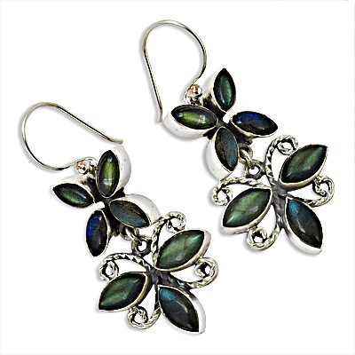 Three Leaves Labradorite Gemstone Silver Long  Earring