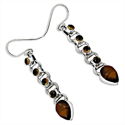 Tigers Eye & Citrine Gemstone Sterling Silver Earrings
