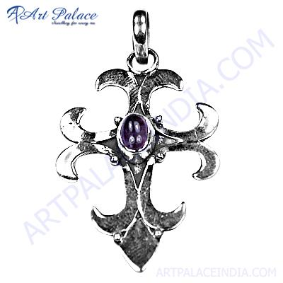 Antique Style Amethyst Gemstone Silver Pendant Set