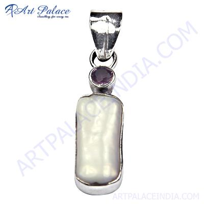 Charming Amethyst & Fresh Water & Pearl Gemstone Silver Pendant