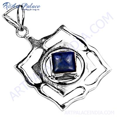 Attrective Square Shape Lapis  Gemstone Silver Pendant Set