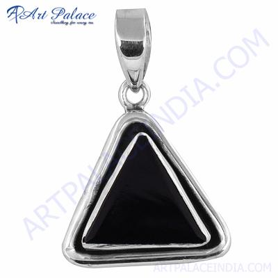 Beautiful  Triangle Black Onyx Gemstone Silver Pendant