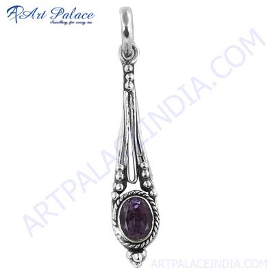 Antique Design Amethyst Silver Gemstone Pendant