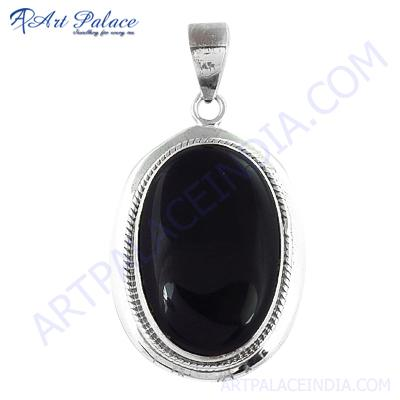 Bold & Beautifull  Big Black Onyx Gemstone Silver Pendant