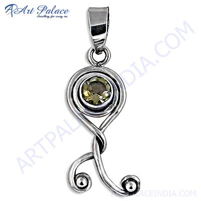 Antique Style Citrine Gemstone Silver Pendant