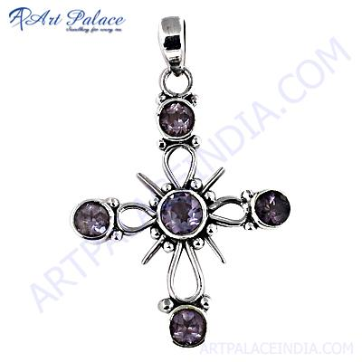 Attractive Flower Style Amethyst Gemstone Silver Pendant