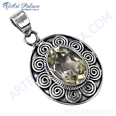 Attractive Citrine Gemstone Silver Pendant For Women