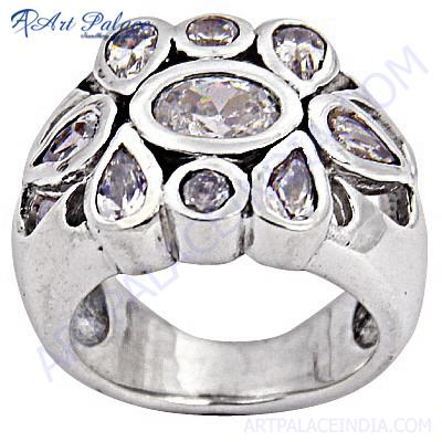 Excellent New Silver Cubic Zirconia  Gemstone Ring