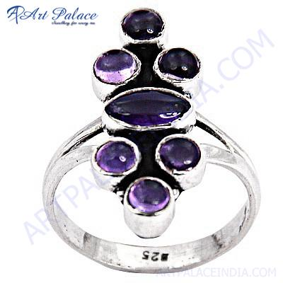 Charming Amethyst Gemstone Silver Ring