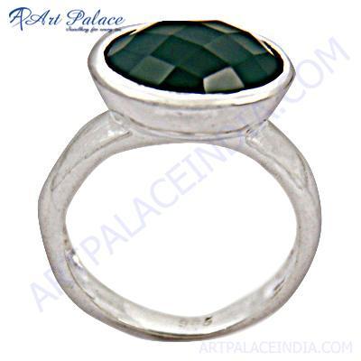 Hot Big Green Onyx Gemstone Silver Ring