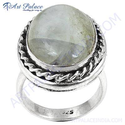 Hot! Dazzling Oval Cut Rainbow Moonstone Gemstone Silver Rings