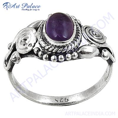 Antique Style Amethyst Gemstone Silver Rings