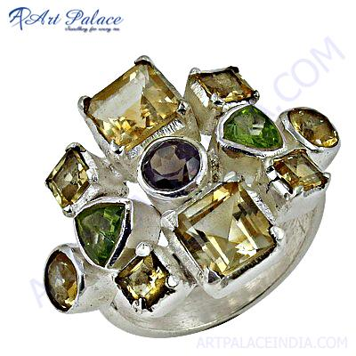 Exclusive Multi Stone Gemstone Silver Rings