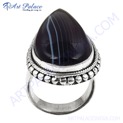 Beautiful Antique Style Black Onyx Silver Gemstone Ring