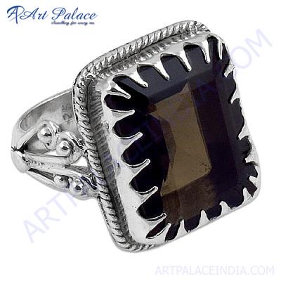 Hot! Dazzling Smokey Quartz Gemstone Silver Rings