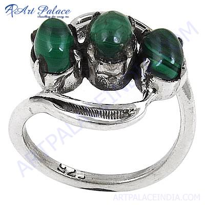 Hot!!! Luxury Fashion Malachite Gemstone Silver Ring