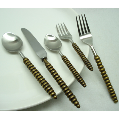 Flatware Set In Brass And Stainless Steel