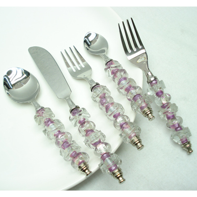 Set of Beaded Flatware In Stainless Steel