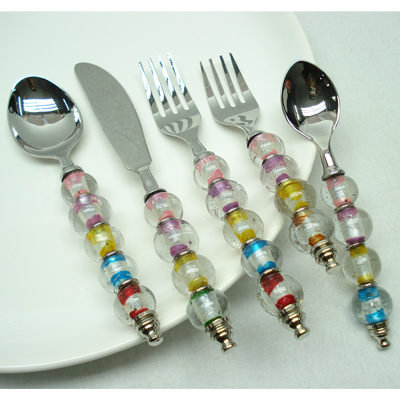 Horn Beaded Flat Serving Spoon Flatware Sets In Stainless Steel