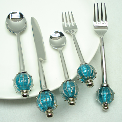 Silver serving flatware Sets For Kitchen Accessories