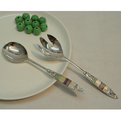 stainless flatware and serving salad server