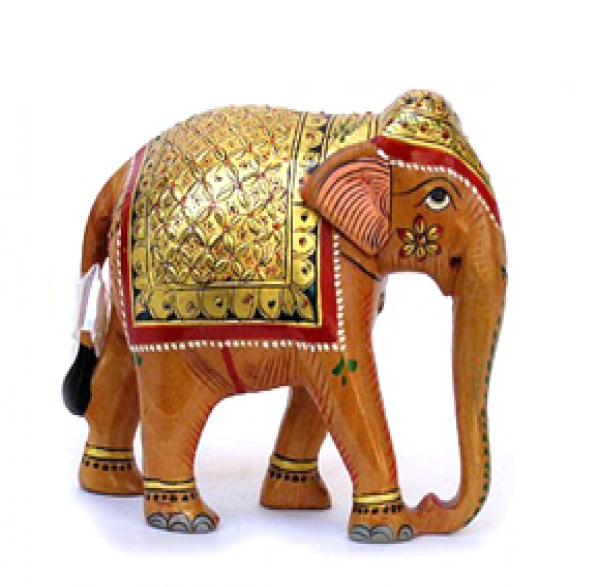 Gold Painted Elephant Figure