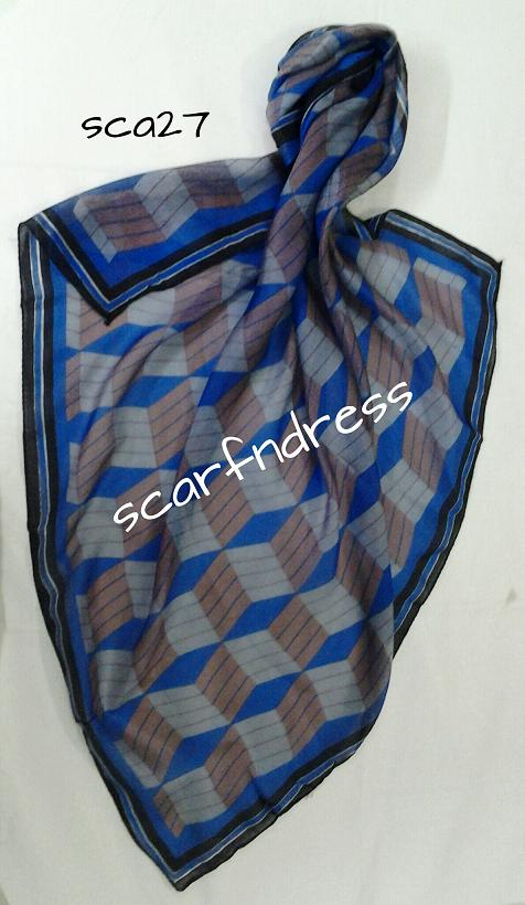 Blue Box Pattern 3d Design Silk Scarf