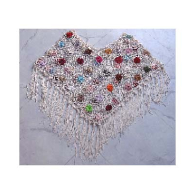 Ladies Embroidery Wool Poncho With Flower Designs