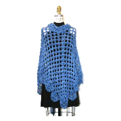 Knitted Wool Womens's Ponchos In Blue Color