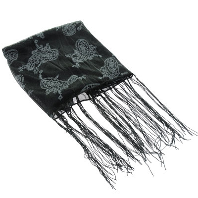Black Paisley Print Scarves From India