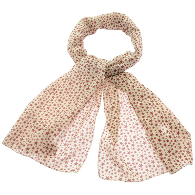 Brown Star Print Long Neck Scarves