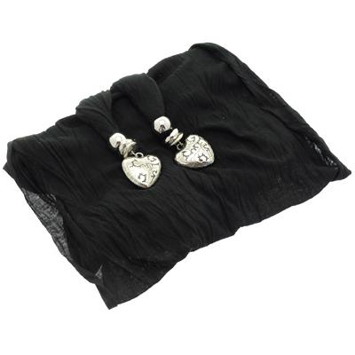 Black Jersey Heart Long Scarves