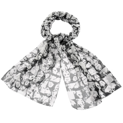 Black And White Face Print Cotton Scarves
