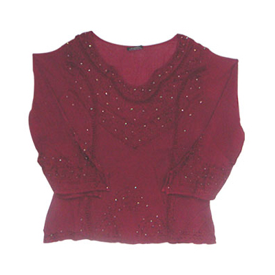 Cotton Embroidery Maroon Tops For Womens