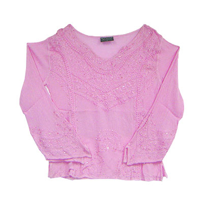 Cotton Pink Top With Embroidery Work